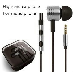 High quality for android phone line controls fashion metal body stereo super bass in-ear earphone with mic headset