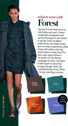 What to wear with Forest - InStyle InStyle Color Crash Course- Colour Combinations Fashion, Color Combinations For Clothes, Fashion Colours, Color Combos, Winter Typ, Fashion Vocabulary, Rocker, Instyle Magazine, Color Pairing