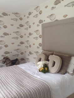 Fornasetti wallpaper by cole and son for boys bedroom. Acquario in neutral.