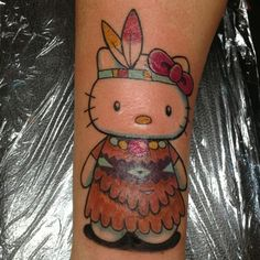 Hola meow! Lol! We had jokes about this one last night. Native Hello Kitty. #hellokitty #tattoo #armtattoo #handdrawn #tattoooftheday #tattoo #bostontattoo www.empiretattooinc.com