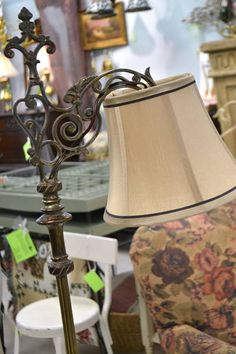 """c1940 Solid Brass Bridge Lamp / Floor Lamp with Ornate Base - Taupe Bell Shade - 61.5"""" H"""
