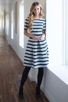 Navy White Cute Modest Dress Down East Basics | Modest Bridesmaids Dresses | Modest Dresses and Skirts for Church