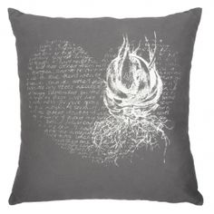 Heart Aloe Cushion Cover – White on grey Aloe, Cushions, Tapestry, Throw Pillows, Grey, Heart, Cover, Creative, South Africa