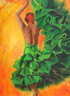Flamenco dancer art print on canvas Back of a by SherisArtStudio, $179.00#paintings by Sharareh Chakamian #www.sherisartstudio.com