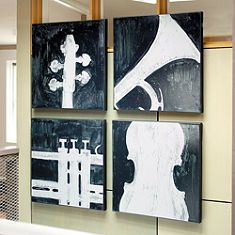 I bet I can do this myself, not just with instruments but with Bass and Treble Clefs...maybe use the leftover paint from Aidan's room + some red and cream?...Would be super cheap!!!