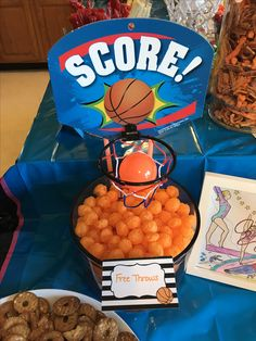 Sports Themed Birthday Party, Basketball Birthday Parties, 10th Birthday Parties, Sports Party, 3rd Birthday, Football Birthday, Birthday Ideas, Basketball Baby Shower, Sport Theme