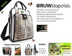 Ruw bolsos reciclados modelo stopcrisis, bolsos ecológicos. Ruw recycled bags model stopcrisis ecological bags from Barcelona