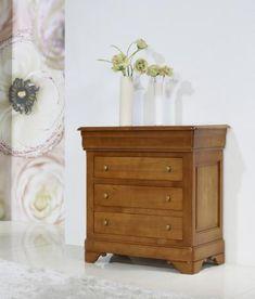commode 4 tiroirs caroline en merisier massif de style louis philippe gris perle et tiroirs de. Black Bedroom Furniture Sets. Home Design Ideas
