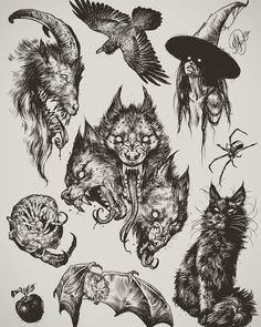 Halloween Tattoos for People who Live to Explo Flash Art Tattoos, Body Art Tattoos, Sleeve Tattoos, Blackwork, Arte Horror, Horror Art, Tattoo Sketches, Tattoo Drawings, Tattoo Ink