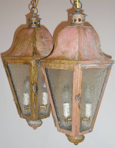 For the Portico:  Pair of Vintage Brass Hanging Lanterns 10