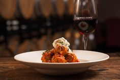 Spaghettini & House-Made Meatballs - Rich Tomato Sauce, Whipped Ricotta, Basil, Extra Virgin Olive Oil chwinery.com