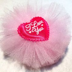 Valentine Hair Bow Clip  3 inch Tulle Layered by ItsEspecially4U #valentines #day #heart #love #hair #bow #clip #boutique #tulle #pink #dark #girls #birthday #itsespecially4u
