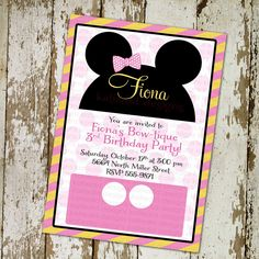 Minnie Mouse Disney bow-tique birthday party invitations or baby shower invitations, digital, printable file (item 778). $13.00, via Etsy.