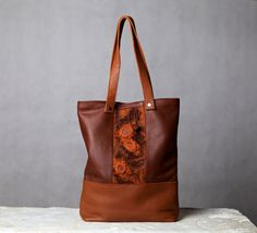 Brown leather tote. Large leather / felt bag. Chocolate by 5plus