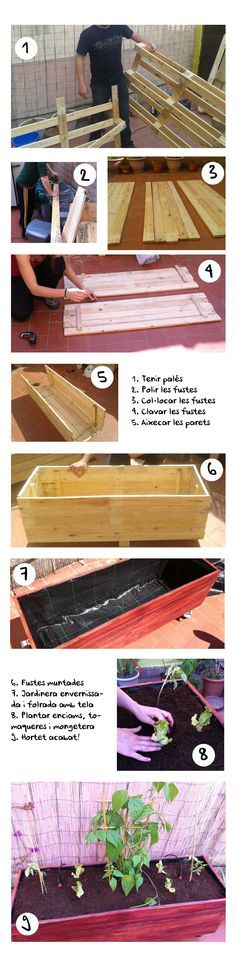 If space is an issue the answer is to use garden boxes. In this article we will show you how all about making raised garden boxes the easy way. We all want to make our gardens look beautiful and more appealing. Outdoor Projects, Garden Projects, Wood Projects, Pallet Planter Box, Planter Boxes, Pallet Fence, Planter Ideas, Raised Planter, Raised Garden Beds