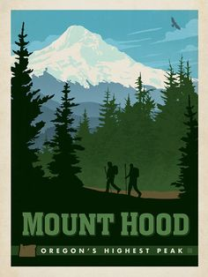 Mount Hood, Oregon - Anderson Design Group has created an award-winning series of classic travel posters that celebrates the history and charm of America's greatest cities and national parks. This print features a majestic view of Oregon's highest peak- Mount Hood. Printed on heavy gallery-grade matte finished paper, this print will add a classic sense of adventure to any home or office wall.