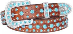 Brown Leather and Turquoise Dots Belt by Double J Saddlery