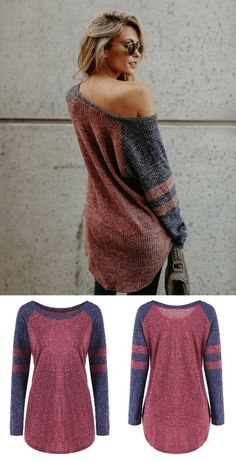 Raglan Sleeve Color Block Ribbed Top Tee T Shirt, Ribbed Top, Work Tops, Comfy Casual, Tshirts Online, Top Top, Pullover, Women's Tops, Clothes For Women
