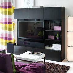"BESTÅ/UPPLEVA black-brown TV bench, wall cabinets and open storage including 46"" LED TV"