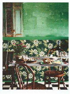 distressed green painted wall - Google Search