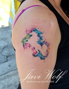 Watercolor Unicorn.  Tattooed by javiwolfink