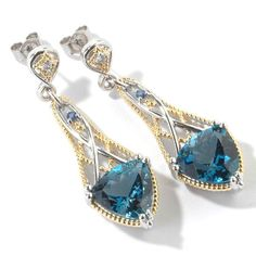 Michael Valitutti London Blue Topaz with Blue and White Sapphire Earrings