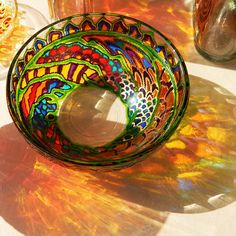 Hand painted BOWL stained glass tealight candle by RichanaDragon