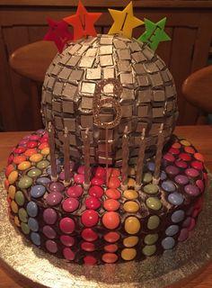 6th birthday disco ball cake
