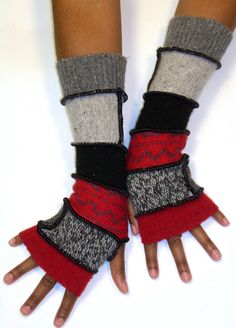 Love these fingerless glove arm warmers! Such a great idea of recycling sweaters and sewing/knitting them together!