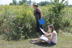 Bee Lab - Tonya and Carlee timing pollinator visits.