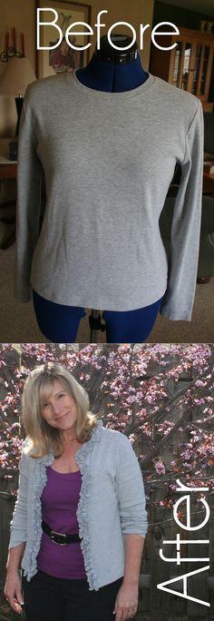 DIY Ruffled T Shirt Cardigan Tutorial More