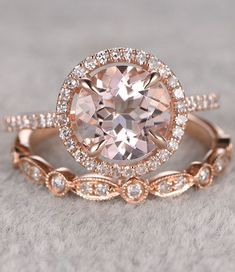 2pcs Morganite Bridal Ring Set,Engagement ring Rose gold,Diamond wedding band,14k,8mm Round Cut,Gemstone Promise Ring,Art Deco Eternity Band #weddingring