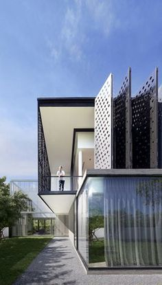 PK79 by AAd features #folding perforated aluminum #panels serving not only as architectural elements, but also as a means to block the ambient noise and allow light and air without sacrificing privacy #facade