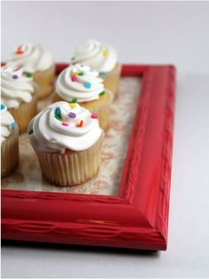 Impress your guests when you serve them desserts on these cute trays. Spray paint the frames bright colors and line the glass with fun fabric or scrapbook paper.