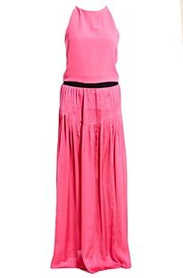 Pinko Elisir Dress. Maxi dress with two high front slits on skirt, elasticated waistband, pleating from waistband. Draped bodice. Hook and eye fastening on shoulder.