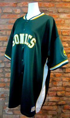 bbb6703e7 Vintage Seattle Sonics Jersey 3X 90s NBA Jacket SuperSonics Logo Sportswear Throwback  Basketball Uni