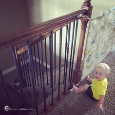 Make a stylish fabric gate, perfect for deterring pets or kids from wandering into off-limit areas. Fabric Baby Gates, Diy Baby Gate, Cleaning Hacks, Dawn, Twins, Projects To Try, Nursery, Knitting, Pets