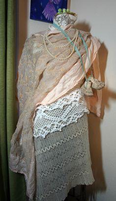 vintage dress form dressed for Valentine's Day lovely and feminine.