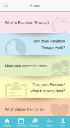 Radiation Coach app home screen