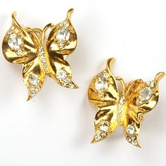 Trifari 'Alfred Philippe' 1960s or later Diamante Spangled Golden Butterfly Clip Earrings