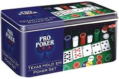 Pro Poker Texas Hold'em Set - Tin for sale online Fire Pit Poker, Texas Poker, Poker Set, Poker Games, Things To Sell, Tin, Camper, Budget, Gaming