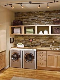 Beautiful laundry room leaves me wondering if I cant have just ONE messy room in the house? Why not the laundry room?) Laundry room - love the stone wall. Laundry Room Storage, Laundry Room Design, Laundry In Bathroom, Laundry Rooms, Laundry Area, Basement Laundry, Small Laundry, Laundry Shelves, Bathroom Plumbing