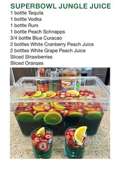 super bowl party food Super Bowl Margarita Jungle Juice Recipe - Super Bowl Margarita Jungle Juice Re. Party Drinks Alcohol, Alcohol Drink Recipes, Liquor Drinks, Cocktail Drinks, Alcohol Games, Alcohol Shots, Alcoholic Candy, Halloween Alcoholic Drinks, Halloween Coctails