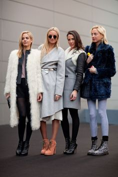 Courtin-Clarins Sisters (Virginie and Claire) with Prisca and Jenna. Love the coats!