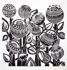 Night Garden Lino Print by Jools Yasities Beautiful round flowers in a Zentangle style Stamp Carving, Linoprint, Guache, Motif Floral, Linocut Prints, Doodle Art, Printmaking, Illustration, Screen Printing
