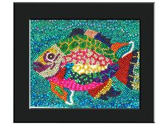 Custom 16 x 20 Rainbow Fish Mardi Gras Bead Mosaic Framed Wall Art. $135.00, via Etsy.