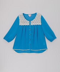 Loving this Turquoise Crocheted Chiffon Top on #zulily! #zulilyfinds