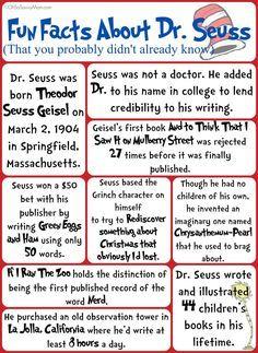 Fun Facts about Dr. Seuss You Probably Didn't know – Free Printable! Fun Facts about Dr. Seuss You Probably Didn't know – Free Printable! Seuss Fun Facts about Dr. Seuss that you probably didn't. Dr. Seuss, Dr Seuss Week, Facts About Dr Seuss, Dr Seuss Printables, Dr Seuss Activities, Kindergarten Activities, Dr Suess Games, Dr Seuss Snacks, Sequencing Activities
