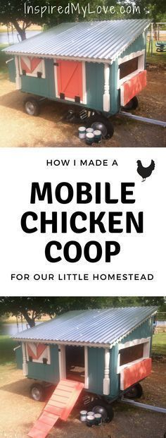 A chicken tractor idea made from junk pile scraps (mostly). This moveable chicken coop DIY was a fun charming chicken coop on wheels to build. A chicken coup that can be pulled by hand or with ATV. If you are looking for Mobile Chicken Coop ideas, check out this #chickencoop.