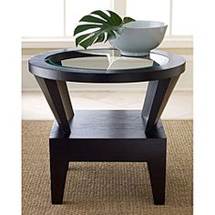 Morgan Round Glass Espresso End Table